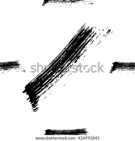 Hand drawn brush ink grunge black and white seamless textures. Artwork with abstract background. Vector illustration for your design