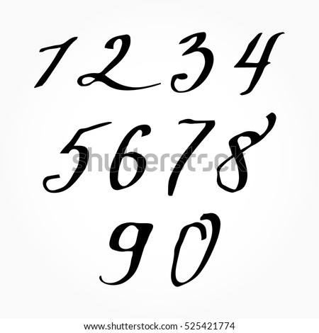 Hand Drawn Brushed Numbers Modern Calligraphy Stock Vector