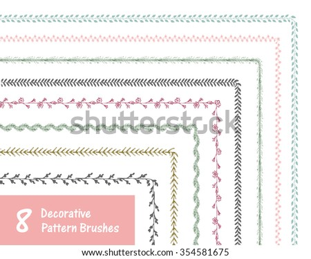 Hand-drawn brushes set. Decorative floral brushes in vector. Perfect for borders, frames, wreaths. Decorative vector brushes - stock vector