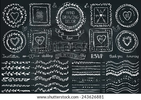 Hand drawn brushes,wreath, line border,heart ,ribbon set.ribbon. Doodle decor on Chalkboard.For design template, invitations, holiday, Valentine day,baby design.Love Vector - stock vector