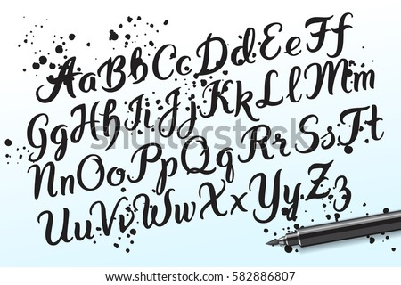 Hand Drawn Brushpen Alphabet Letters Handwritten Script Font Lettering Custom Typography With Pen