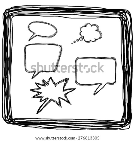 hand drawn bubble balloon speech in square lines, illustration vector. - stock vector