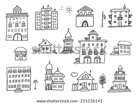 Hand Drawn Buildings - stock vector