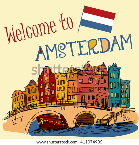 Hand drawn buildings Amsterdam - Netherlands - stock vector