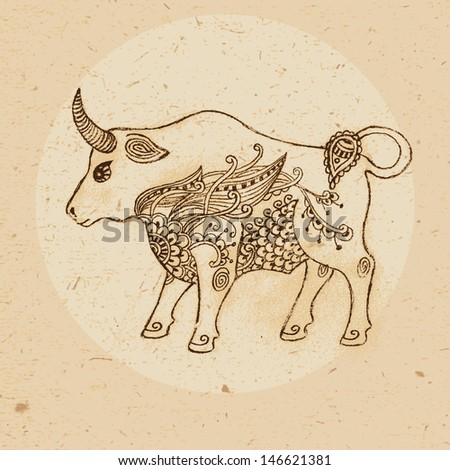 Hand drawn bull with elements of the ornament in ethnic style. Zodiac sign - Taurus. Vector illustration. - stock vector