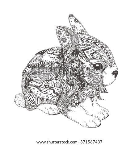 Handdrawn Bunny Ethnic Floral Doodle Pattern Stock Vector