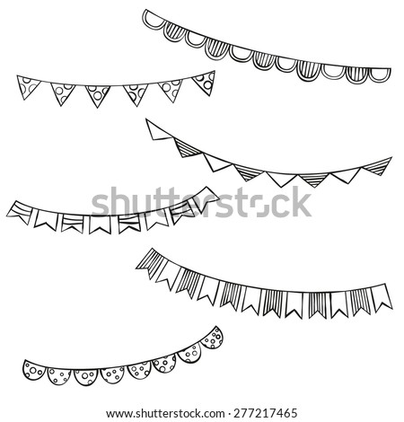 Hand drawn bunting flags - stock vector