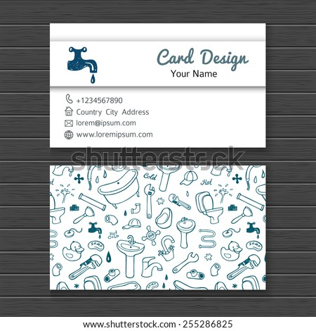Hand drawn business card mock up with plumbing doodle icons for your design - stock vector