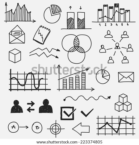 Hand drawn business doodle sketches elements Concept infographic finance analytics learnings progress - stock vector