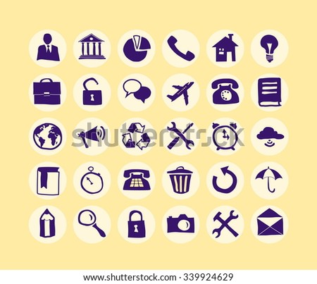 Hand drawn Business Icon set for web and mobile. Modern minimalistic flat design elements of office supplies, business conceptions, work tools - stock vector