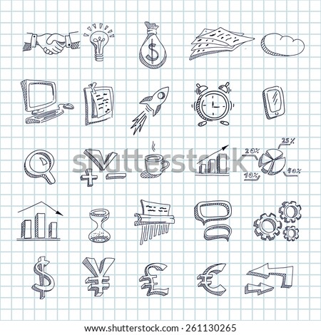 Hand drawn business icons on a  square paper background. Doodle style. - stock vector
