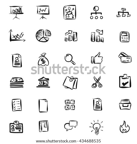 Hand-drawn Business Icons Pattern, Vector sketched Artwork