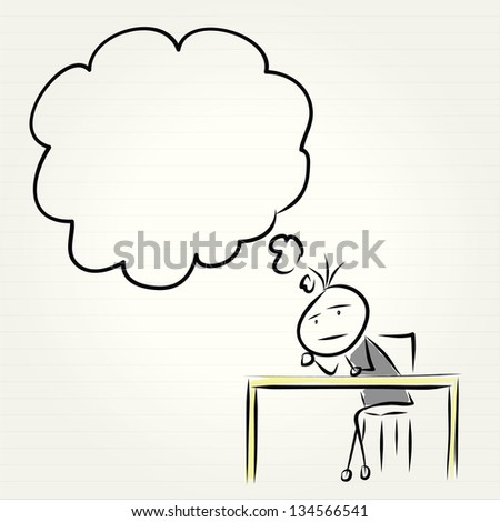 Hand drawn Business man thinking - stock vector