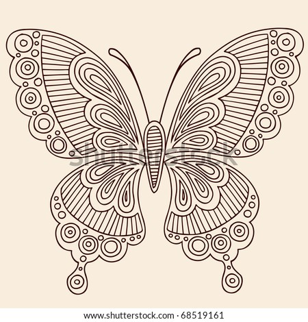 Hand-Drawn Butterfly Henna Mehndi Paisley Doodle Outline Vector Illustration Design Element - stock vector