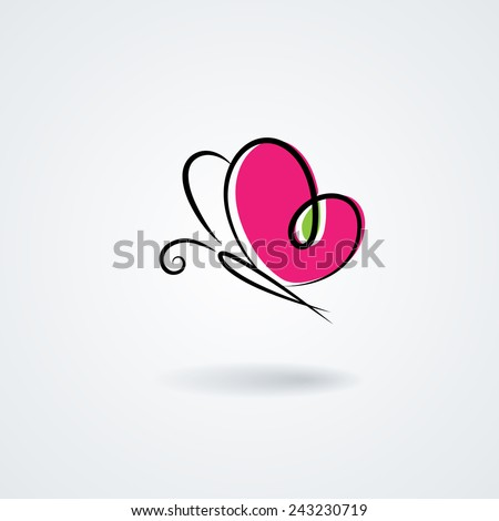 Hand-drawn butterfly with a heart's shape wings. Vector symbol - stock vector