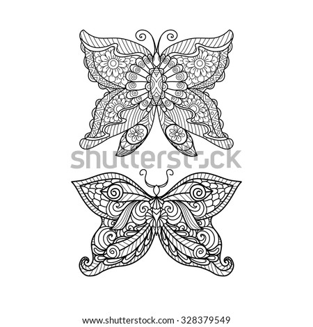 Hand drawn butterfly zentangle style for coloring book, shirt design or tattoo - stock vector