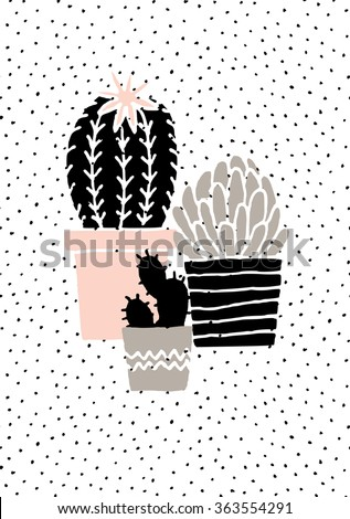 Hand drawn cactus plants in black, white, taupe and pastel pink. Scandinavian style illustration, modern and elegant home decor. - stock vector
