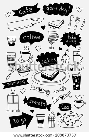 Hand drawn cafe icons with coffee tea cakes desserts and sweets - stock vector