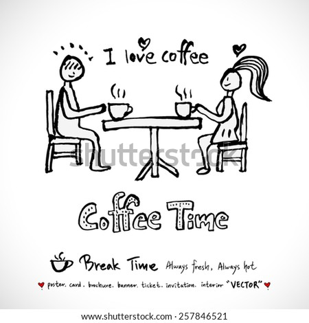 Hand drawn cafe poster illustration - vector - stock vector