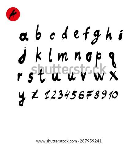 Hand drawn calligraphic alphabet - stock vector