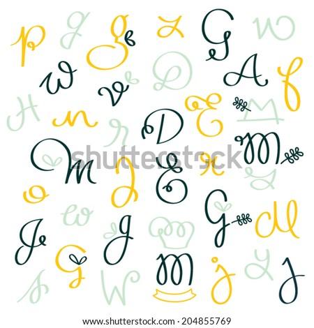 Hand drawn calligraphic alphabet in vector  - stock vector