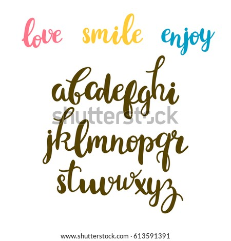 Hand Drawn Calligraphic Font Cute Letters Lettering Alphabet Vector Illustration
