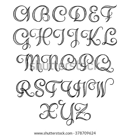 Hand Drawn Calligraphic Font Your Design Stock Vector