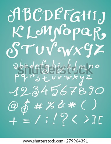 hand drawn calligraphic vector font - handwritten alphabet with numbers and special symbols - stock vector