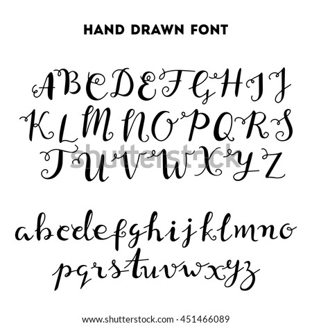 Hand drawn calligraphy curly font - stock vector