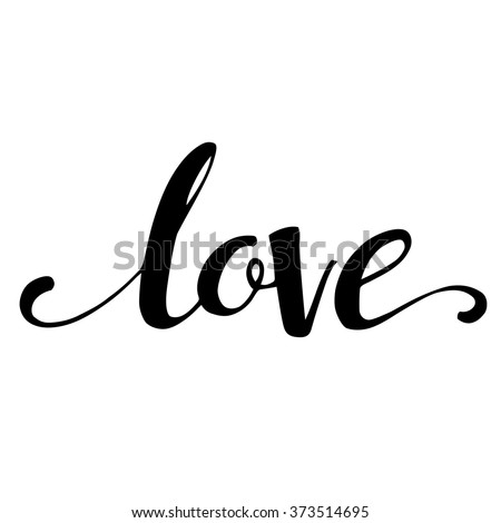 Decorative Love Text Heart Vector Illustration Stock
