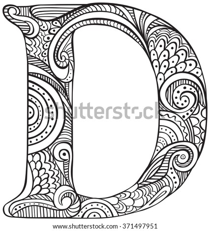 Hand Drawn Capital Letter D Black Stock Vector 371497951