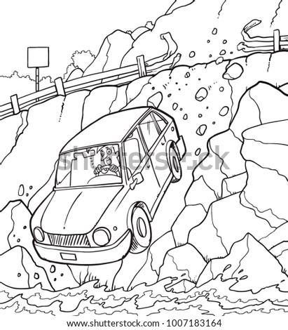 Hand Drawn Car Crash Illustration Auto Stock Vector 1007183164 ...