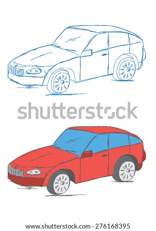 Hand Drawn Car Vehicle Scribble Sketch Vector Illustration  - stock vector