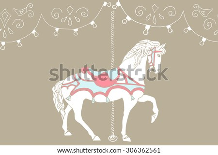 Hand drawn carousel horse. Vector illustration - stock vector
