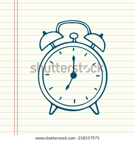 Hand drawn cartoon alarm clock, isolated on lined paper background. - stock vector