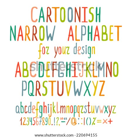 Hand Drawn Cartoon Alphabet Letters. Written colorful cartoonish ABC. Vector illustration EPS8. - stock vector