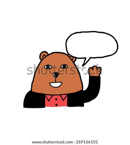 hand drawn cartoon bear - stock vector