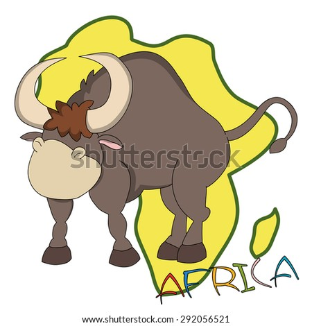 "Hand drawn cartoon bull with African continent silhouette as a background and ""Africa"" lettering."