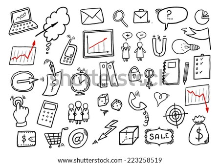 Hand Drawn Cartoon Business Set - stock vector