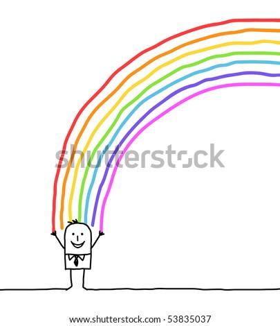 hand drawn cartoon character - businessman and rainbow colors - stock vector