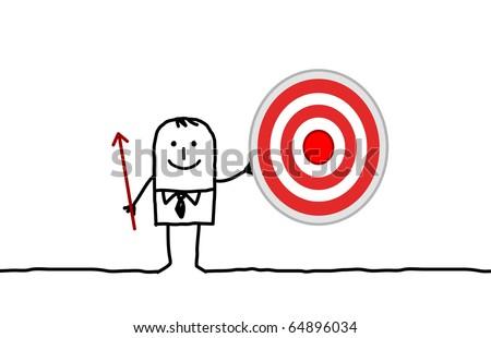 hand drawn cartoon character - businessman & target - stock vector
