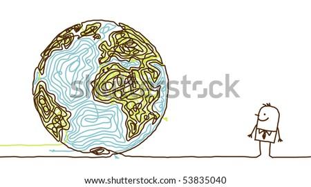 hand drawn cartoon character - man watching a sketchy world - stock vector