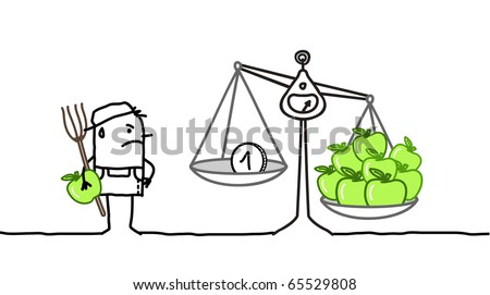 hand drawn cartoon characters - angry farmer & low price apples