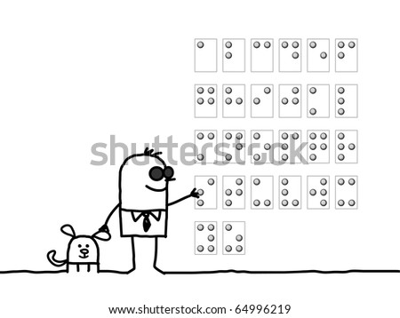 hand drawn cartoon characters - blind man reading Braille alphabet - stock vector