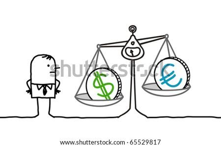 hand drawn cartoon characters - businessman & currencies in balance - stock vector