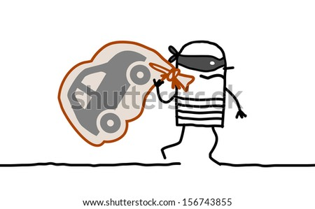 Hand drawn cartoon characters - car thief running away - stock vector