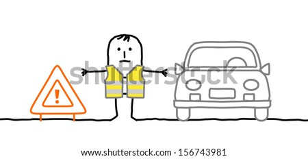 Hand drawn cartoon characters - man with safety kit stopped on the road  - stock vector