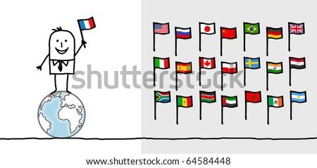 hand drawn cartoon characters - man & world flags - stock vector