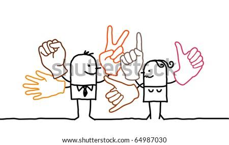 hand drawn cartoon characters - sign language - stock vector