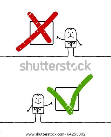 hand drawn cartoon characters -  X & V signs - stock vector